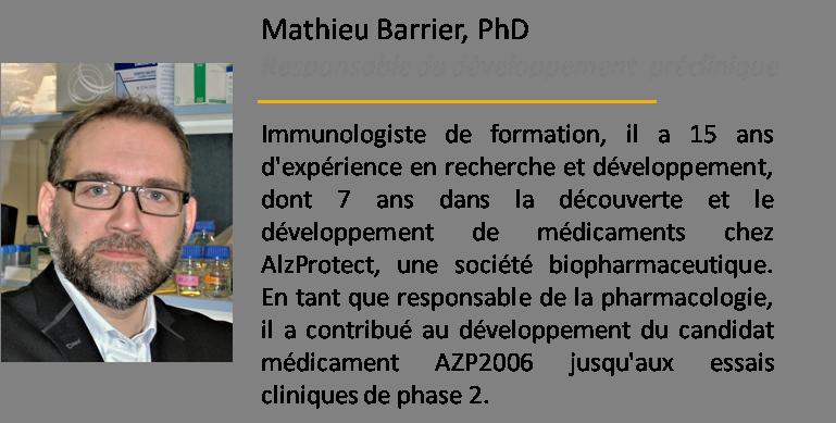 Mathieu Barrier Responsable developpement préclinique MElkin Pharmaceuticals